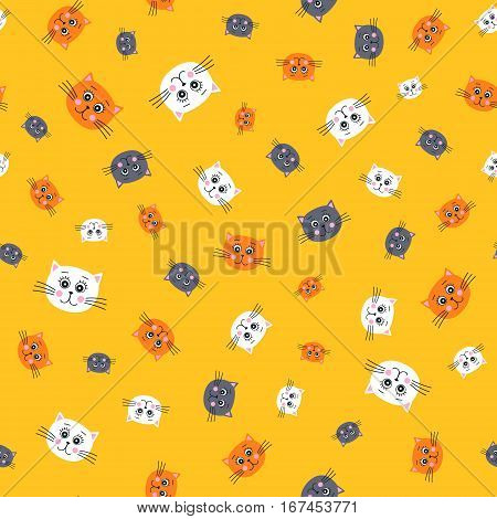 Cute cats. Vector seamless pattern with hand drawn cats faces. Childish background for your design. In flat style. White orange and grey kitten heads on yellow background.