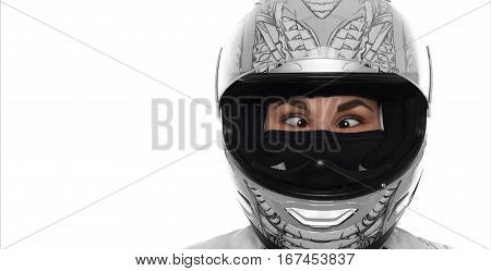 Close up portrait of crazy wowan with extereme life. Lady in motorcycle helmet on white background. Strabismus young girl. Funny female concept. Copy space for advertising motorbike goods.