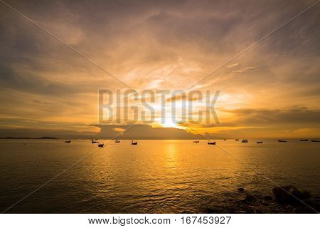 Seascape Of Fishing In Caribbean Sea - Fishing Boat Under Sunlight - Silhouette Image Of Fishing Boa
