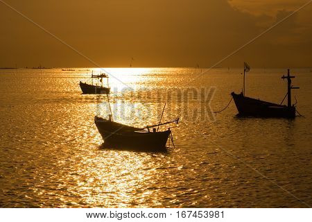 Fishing In Caribbean Sea - Fishing Boat Under Sunlight - Silhouette Image Of Fishing Boat - Fishing