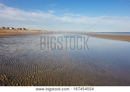Low tide in Pevensey bay East Sussex England