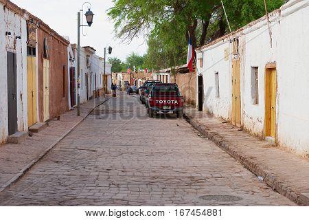 SAN PEDRO DE ATACAMA, CHILE - OCTOBER 24, 2013: View to the street of San Pedro de Atacama, Chile.
