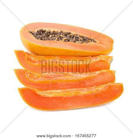 Slices Of Sweet Papaya On White Background.
