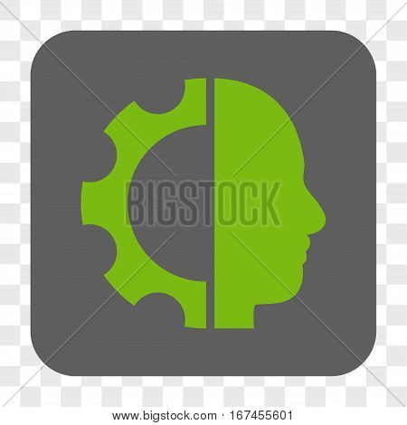Cyborg Gear interface toolbar button. Vector icon style is a flat symbol on a rounded square button light green and gray colors chess transparent background.