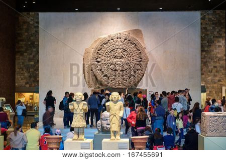 MEXICO CITY-DECEMBER 27,2016 : The Aztec Calendar or Stone of the Sun at the National Museum of Anthropology in Mexico City