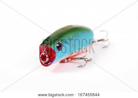 Fishing lure isolated on white. Wobbler in three color.Green blue and red colors.