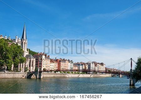 Church of Saint Georges and footbridge, Lyon, France