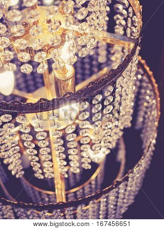Chandelier crystal details Lighting Luxury interior decoration