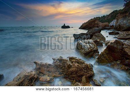 beautiful sun set sky at laem chabang sea beach chobburi eastern thailand