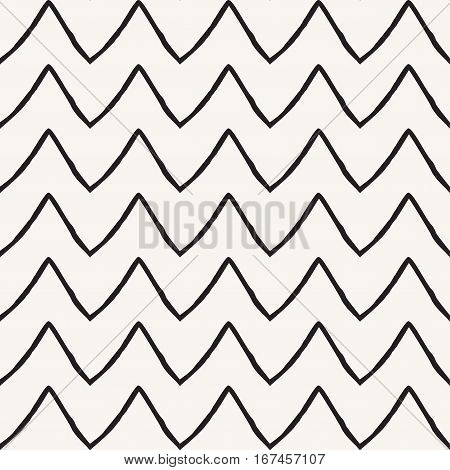 Hand drawn seamless pattern with black zigzag stripes on off white color background. Brush stroke lines, Geometric pattern. Retro style. Template
