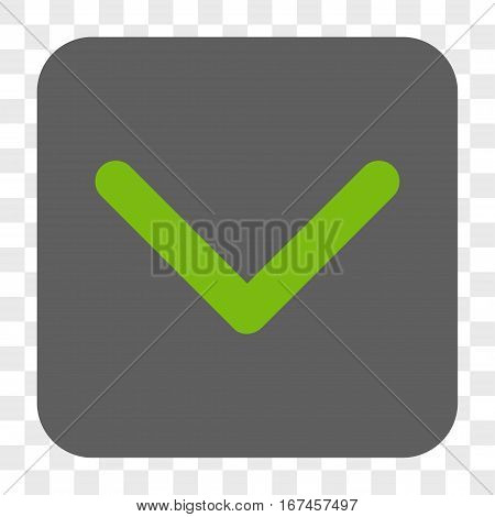 Direction Down interface toolbar button. Vector icon style is a flat symbol inside a rounded square button light green and gray colors chess transparent background.