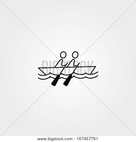 Cartoon stick figure icon sport vector people rowing
