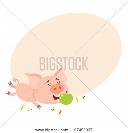 Funny little pig lying and eating apple with three more stumps around, cartoon vector illustration on background with place for text. Cute little pig eating apple, overeating concept