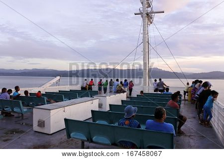 Passengers Onboard Of Inter Island Ferry In Fiji