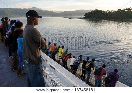 Ferry Passengers Arrive To Savusavu Vanua Levu Island Fiji