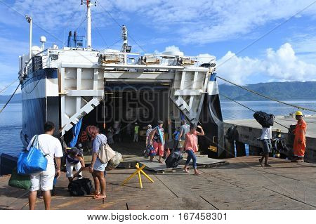 Passengers Departing Of Inter Island Ferry In Fiji