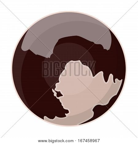 Pluto icon in cartoon design isolated on white background. Planets symbol stock vector illustration.