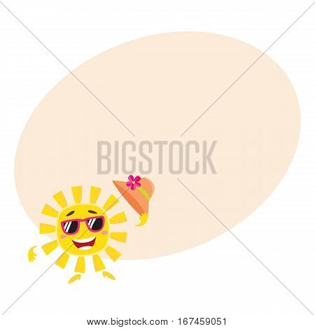 Summer sun character in sunglasses holding straw hat and smiling happily, cartoon vector illustration with place for text. Smiling sun funny character, mascot, symbol of summer vacation