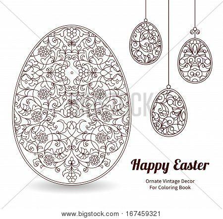 Floral Ornamental Egg. Happy Easter.