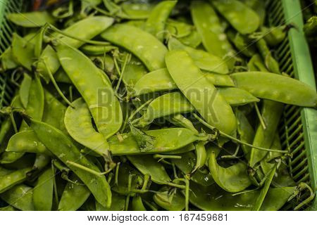 Pile of Snow Peas at a market