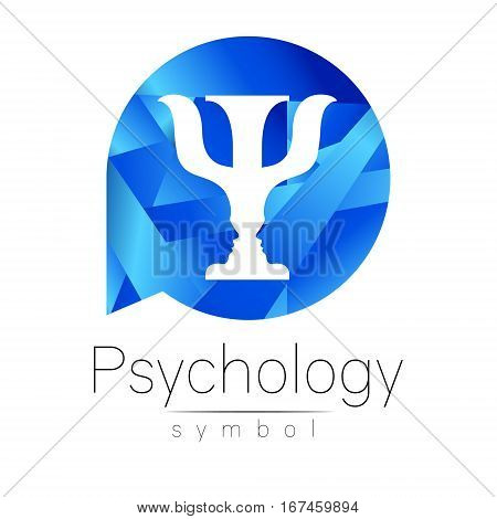 Modern logo of Psychology. Psi. Creative style. Logotype in vector. Design concept. Brand company. Blue color letter on white background. Symbol for web, print, card, flyer