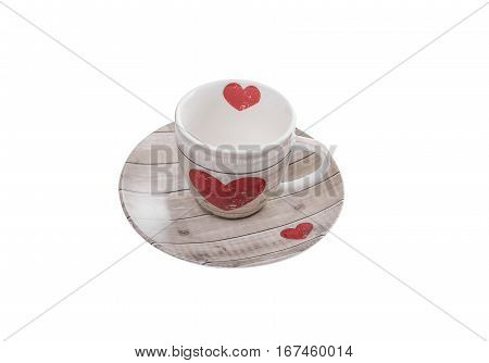 Coffee cup with a picture of a heart. Isolated on white background.