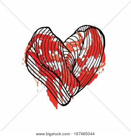 Heart bleeding Hand drawn sketched vector illustration. Doodle graphic with ornate pattern.