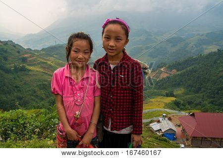 Laocai, Vietnam, Sep 15: H'mong Ethnic Minority Children On September 15, 2016 In Laocai, Vietnam. H