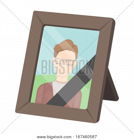 Portrait of deceased person icon in cartoon design isolated on white background. Funeral ceremony symbol stock vector illustration.