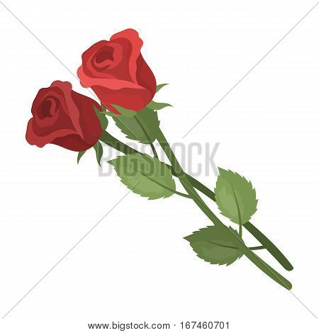 Two roses icon in cartoon design isolated on white background. Funeral ceremony symbol stock vector illustration.