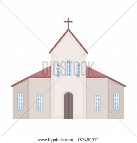 Church icon in cartoon design isolated on white background. Funeral ceremony symbol stock vector illustration.