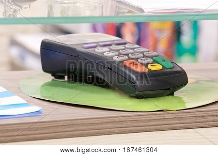 Bank terminal on a reception table
