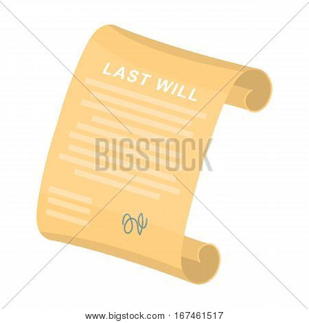 Last will icon in cartoon design isolated on white background. Funeral ceremony symbol stock vector illustration.