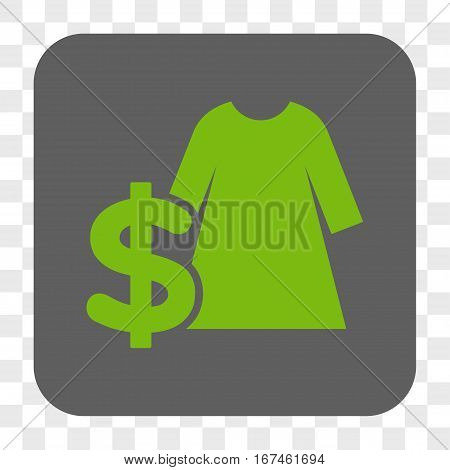 Dress Price interface toolbar button. Vector icon style is a flat symbol inside a rounded square button light green and gray colors chess transparent background.