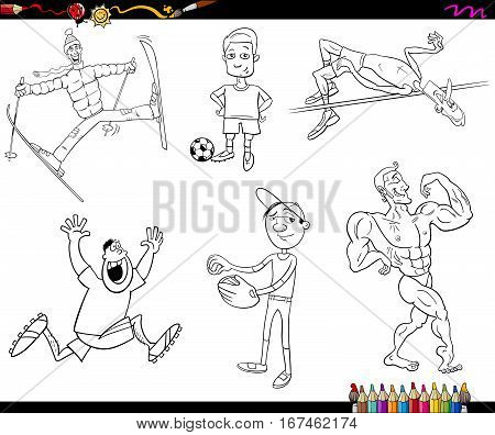 Sportsmen Cartoon Coloring Page
