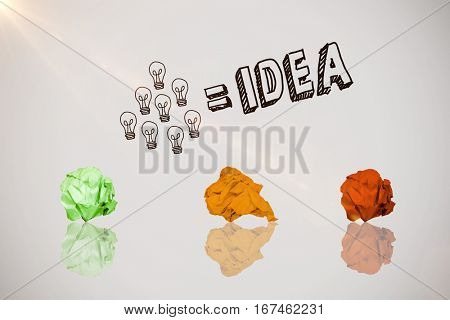 Digitally composite image of pink crumpled paper against idea and innovation graphic