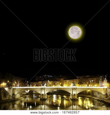 Landscape with the image of night Roma, Italy