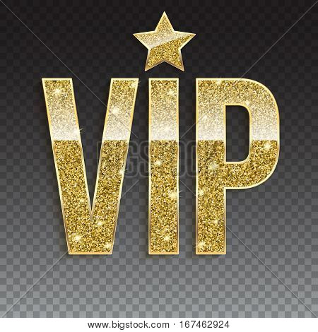 Golden symbol of exclusivity, the label VIP with glitter. Very important person - VIP icon on white background Sign of exclusivity with golden glow. Template for vip banners or card on trasparent
