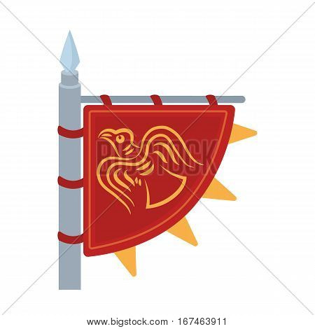 Viking's flag icon in cartoon design isolated on white background. Vikings symbol stock vector illustration.