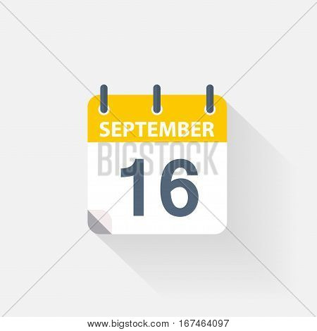 16 september calendar icon on grey background