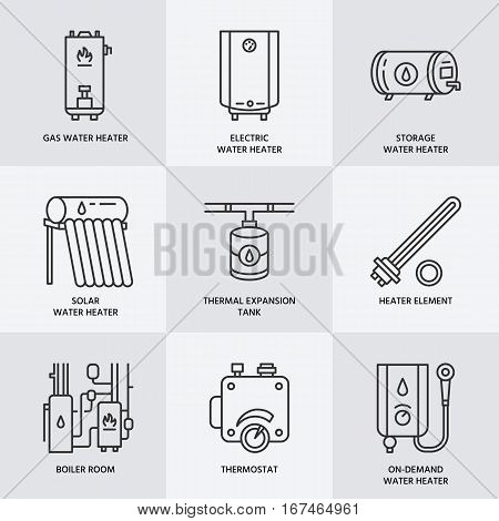 Water heater, boiler, electric, gas, solar heaters and other house heating equipment line icons. Thin linear pictogram for hardware store. Household appliances signs.