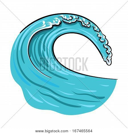 Wave icon in cartoon design isolated on white background. Surfing symbol stock vector illustration.