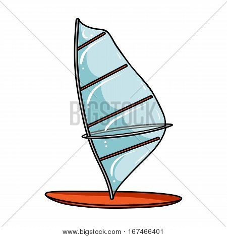 Windsurf board icon in cartoon design isolated on white background. Surfing symbol stock vector illustration.