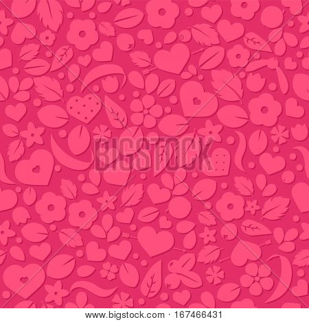 Vector love background with hearts and flowers. Creative seamless pattern design for gift wrapping paper party invitation greeting card wallpaper or web header foreground