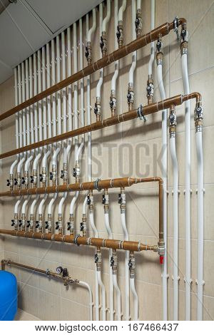 private boiler copper pipe with hot water in the basement