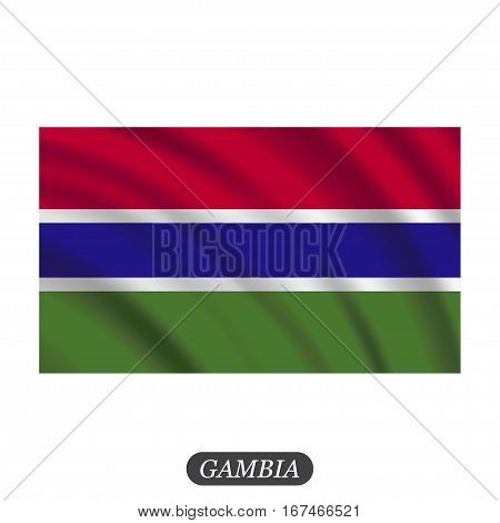 Waving Gambia flag on a white background. Vector illustration