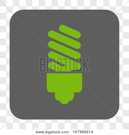 Fluorescent Bulb interface toolbar button. Vector icon style is a flat symbol on a rounded square button light green and gray colors chess transparent background.