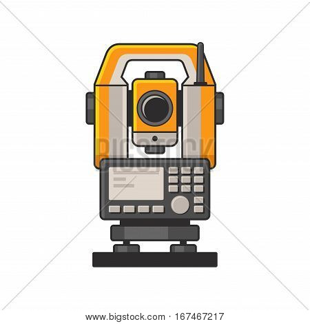 Geodetic Optical Measuring Laser Level Devices. Tachymeter, Theodolite Icon. Vector illustration