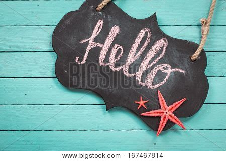 Concept Of The Summer Time With Fish Star ,sea Shells And Chalkboard