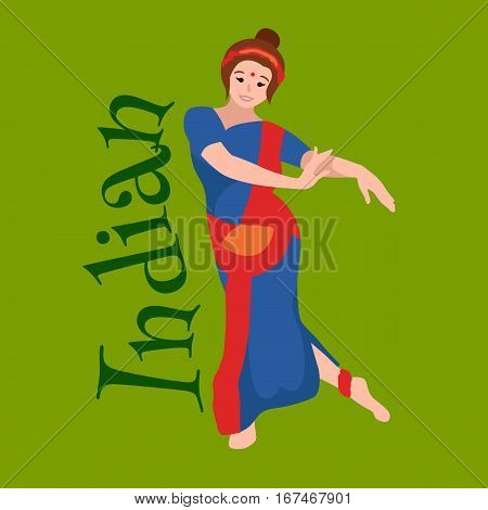 Vector illustration of woman performing Kathak classical dance of Northern India. Indian traditional dancer girl, Vector illustration of young dancing lady in sari